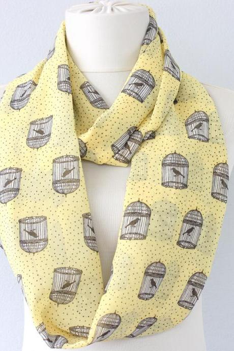 Birdcage scarf yellow circle scarf animal print scarf