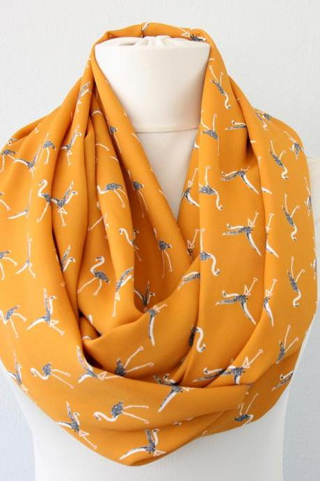 Flamingo bird scarf yellow infinity scarf