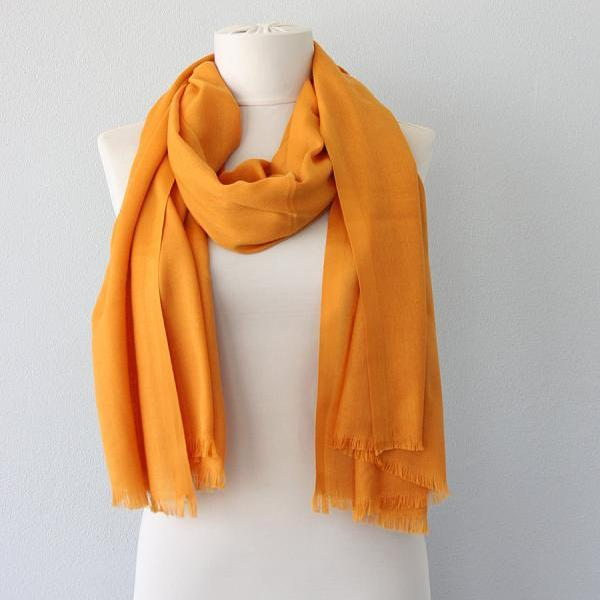 Yellow pashmina scarf, honey pashmina shawl, fall scarves for women, clothing gift for her, christmas gift