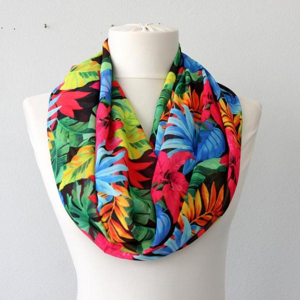Tropical scarf, floral infinity scarf, bold and bright , beach party accessories