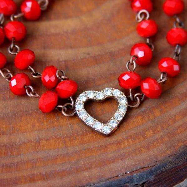 Heart bracelet , red beaded and rhinestone heart charm , valentine's gift for her