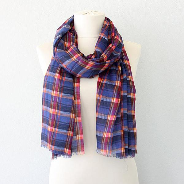Plaid autumn fall scarf Soft shawl Check scarf tartan large shawl lightweight scarves Blue red checked scarf swimsuit cover up pareo