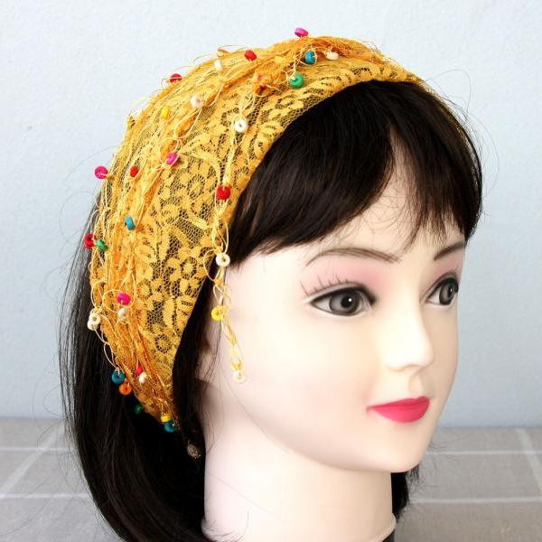 Lace headband yellow hair wrap